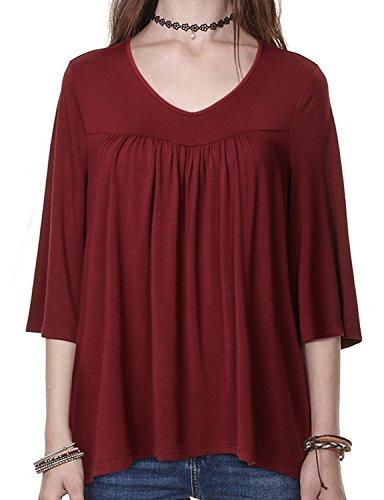 REGNA X BOHO Womens Babydoll Shirts Blouse Top, Wine, 2XL Wine - V Neck XX-Large Plus ()