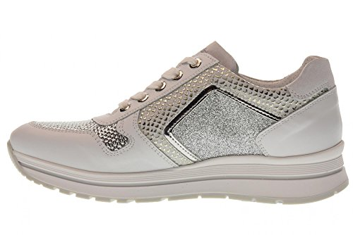 low GIARDINI NERO sneakers Silver P805244D White 707 shoes woman wPpqF6