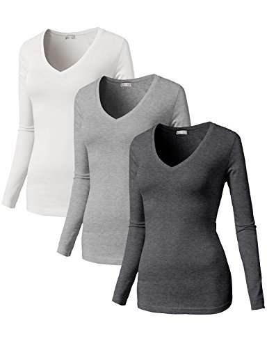 H2H Women's Soft Warm Thermal Long Sleeve V Neck T Shirt MULTI6 US L/Asia L (SET3CWTTL0172) - Edge Long Sleeve Thermal Shirt