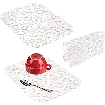 Amazon Com Mdesign Decorative Kitchen Sink Protector Mat