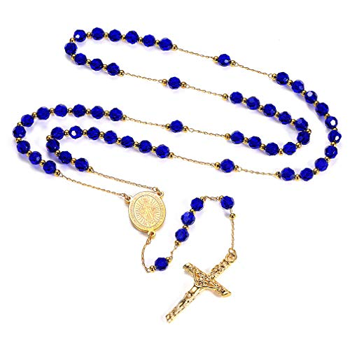 - FaithHeart Rosary Beads Catholic Necklace, Holy Soil Virgin Mary Medal with Cross Crucifix Pendant, 6MM Beads, 26 Inches Chain, 6.3 Inches Pendant (Blue)