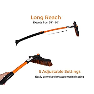 "Snow Moover Extendable 50"" Car Brush and Ice Scraper with Foam Grip 