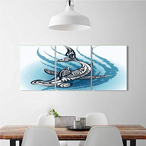 aolankaili 3 Pieces Art The Picture for Home Decoration Frameless Shark Hammerhead with Ornamental Effects Swimming Dark and Petrol Blue White Art for Home Decorations Wall Decor W16 x H24 x 3pcs