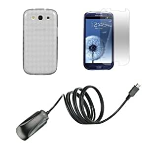 Cerhinu Samsung Galaxy S III Premium Combo Pack - Clear Transparent TPU Gel Case + ATOM LED Keychain Light + Screen Protector...