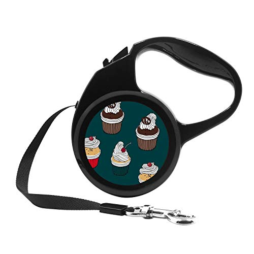 - Retractable Dog Leash, 7ft Dog Walking Leash for Small Dogs up to 26lbs, One Button Break & Lock, Unique Design - Cherry Cupcake, Chocolate Muffin and Raspberry Cake