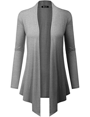 Gray Long Sleeve Sweater - Because I Love You Women's Open Front Drape Hem Lightweight Cardigan - X-Large - Heather Grey