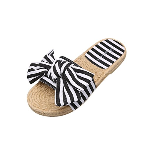Jitong Pantoufles Femme Rayées Bout pour Sandales Noir Plates d'été Bowknot Slip on Chausson Ouvert qIrwBFIvx