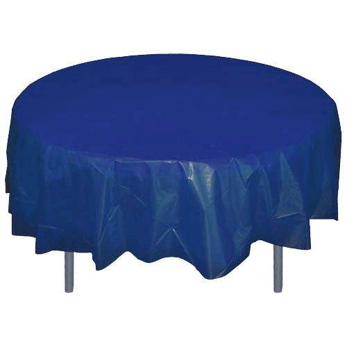 6-Pack Premium Plastic Tablecloth 84in. Round Plastic Table cover - Navy