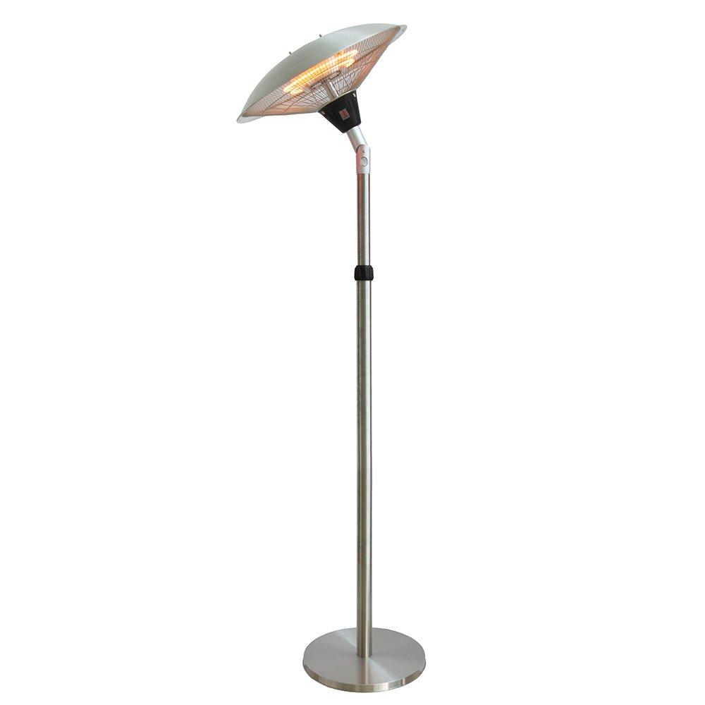 Chauffage d'extérieur parasol chauffant électrique sur pied hauteur réglable max 205cm et tête inclinable - 2100W interougehome