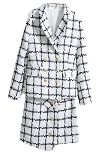 (Hajotrawa Women Tailored Collar Skirt Tweed Fashion Jacket Plaid Coat Double Breasted Blazer Suit White S)