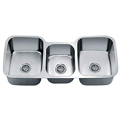 Dawn TDS4520 Undermount Triple Bowl Sink, Polished Satin