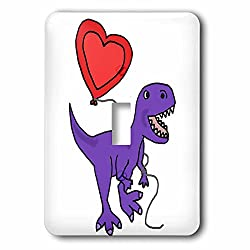 3dRose All Smiles Art Dinosaurs - Funny Cool T-rex Dinosaur with Heart Shaped Love balloon - Light Switch Covers - single toggle switch (lsp_265136_1)