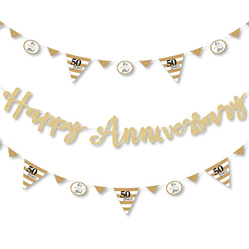 We Still Do - 50th Wedding Anniversary - Anniversary Party Letter Banner Decoration - 36 Banner Cutouts and No-Mess Real Gold Glitter Happy Anniversary Banner Letters ()