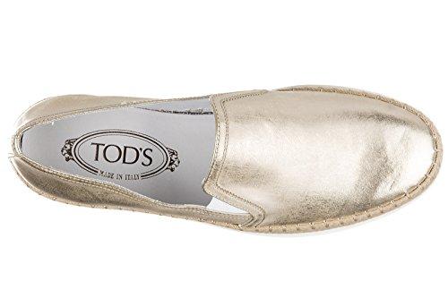 Tod's slip on femme en cuir sneakers or