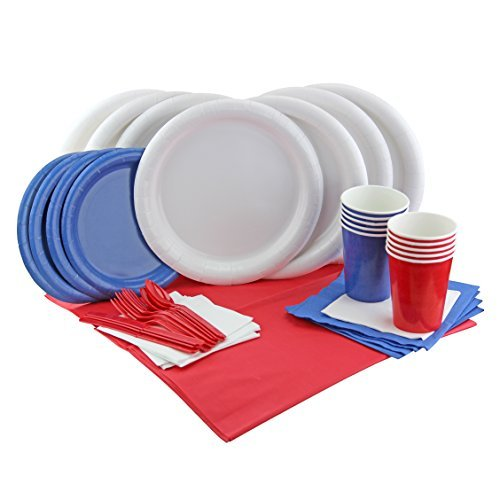 July 4 American Flag Party - Complete Patriotic Party Supplies Kit - Plates, Napkins, Cutlery, Cups and (Red And Blue Party Cups)