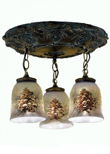Pendant 2 Pinecone Light (Meyda Tiffany 49537 Northwoods Pinecone 3 Light Hand Painted Pendant Light Fixture, 17