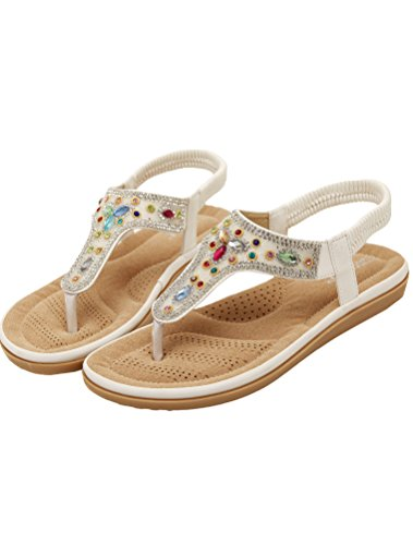 Vogstyle Mujeres Sandalias Verano Estilo Étnico Playa Zapatos Bohemio Sandalias Punta Abierta Deslizadores Verano Boho Chic Zapatillas ZMY002 Estilo 3 White
