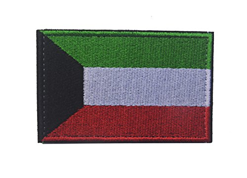 ShowPlus Kuwait KW Flag Military Embroidered Tactical Velcro Patch Morale Shoulder Applique