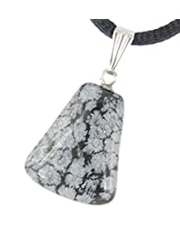 "Snowflake Obsidian Classical Keystone Trapezoid : Balance & Strength, Black Gray Triangle Crystal Gemstone Collectibles Handmade Drop Charm 20mm / 0.79"""