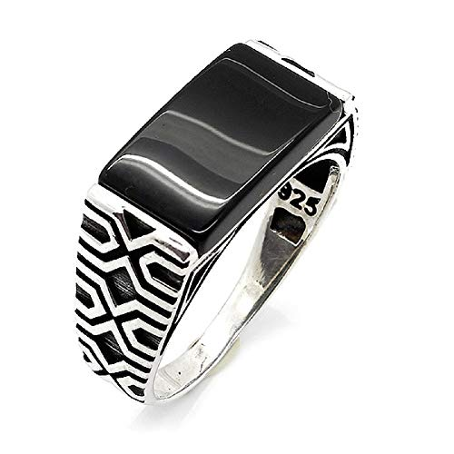 sh Ottoman Jewelry Onyx Rectangle 925K Sterling Silver Men's Ring ()