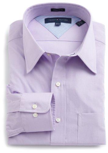 Tommy Hilfiger Men's Dress Shirt Regular Fit Poplin Solid, Lavender, 17.5