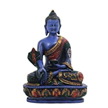 Medicine Buddha Meditating Blue Statue for Peace and Relaxation Resin with Hand painted Finish