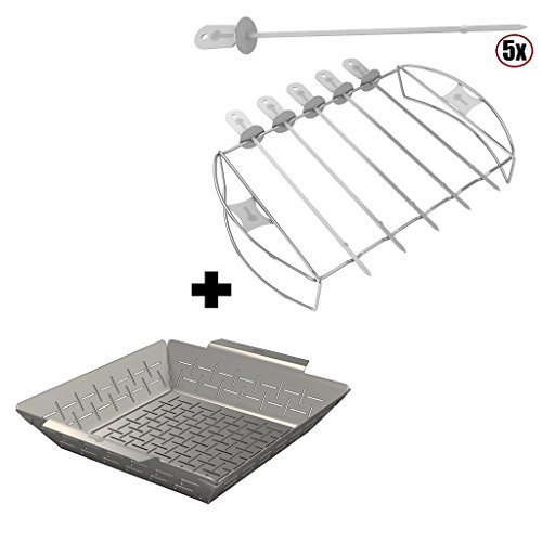 Vegetable Grill Basket + Barbecue Skewer Shish Kabob Set – BBQ Kebab Rack Maker for Meat & ...