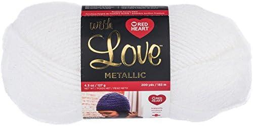 Red Heart With Love Metallic Yarn White NEW 200 yards