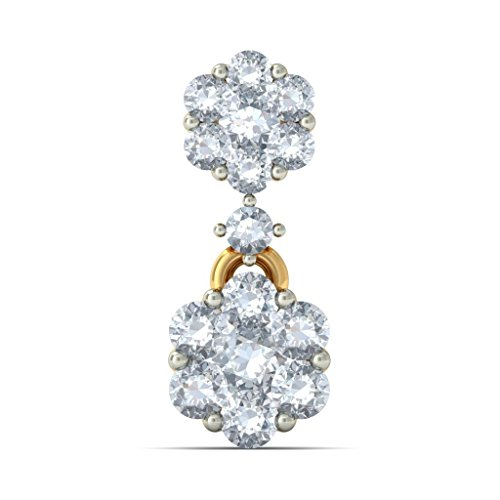 14K Or jaune 0.99CT TW White-diamond (IJ | SI) Pendants d'oreilles