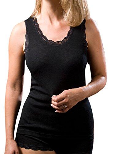 Engel Axil - Mujer axilas camiseta con punta lana de graduación seda negro