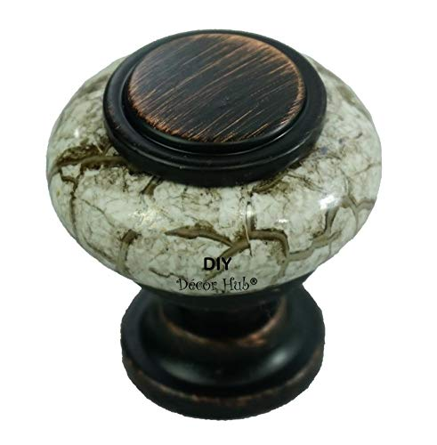 DIY Décor Hub 20 Oil Rubbed Bronze and Granite-Gray (Ceramic) Knobs Pulls for Cabinets, Cupboard Dresser, Drawers for Kitchen, Bathroom or Office