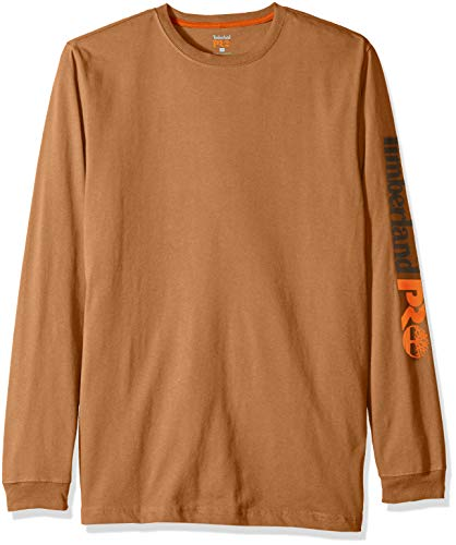 Timberland PRO Men's Big and Tall Base Plate Blended Logo Long-Sleeve T-Shirt, Dark Wheat, ()