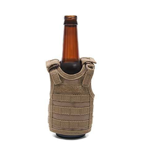 Tactical Premium Beer Military Molle Mini Miniature Vests Beverage Cooler 12oz 16oz Beverages cans Bottles - Adjustable Shoulder Straps - Coyote Brown