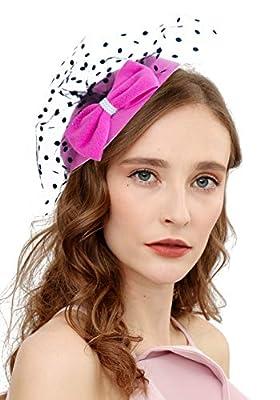 Cizoe Fascinator Hair Clip Pillbox Hat Bowler Feather Flower Veil Wedding Party Hat Tea Hat