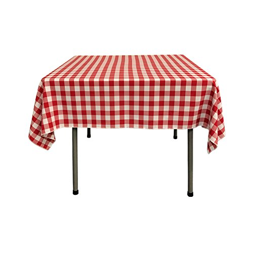 La linen poly checkered square tablecloth 52 by 52 inch for Table runners 52 inches