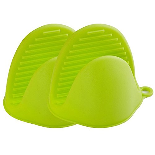 (MyLifeUNIT Silicone Pot Holder, Silicone Oven Mitt Mini Set of 2, Heat Resistant Cooking Pinch Grabber Grips (Green))