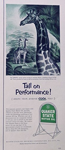 Quaker State Motor Oil, 50's print ad. Color Illustration. (Giraffe) original 1952 Life Magazine Art ()