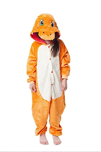 [JT-Amigo Kids Unisex Cosplay Pajamas Onesie Charmander Costume, 4-6 Years] (Cosplay Costumes For Boys Kids)