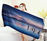 Anniutwo Nature,Bath Towel,Wooden Pier Tops Remain in Lake Sunset Mirror Image Out Different Perspectives,Bathroom Towels,Royal Blue Size: W 27.5'' x L 55''