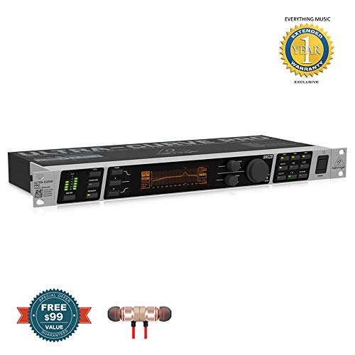(Behringer ULTRACURVE PRO DEQ2496 - Stereo 24-Bit/96kHz Digital EQ/RTA Mastering Processor includes Free Wireless Earbuds - Stereo Bluetooth In-ear and 1 Year Everything Music Extended Warranty)