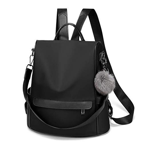 Women Backpack Purse Nylon Anti-theft Fashion Casual Lightweight Travel Shoulder Bag(Black Large)