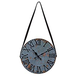 Blue Wall Clock Wooden Handcraft Decorative Large Vintage Style For Living Room Rustic Round Roman Numeral