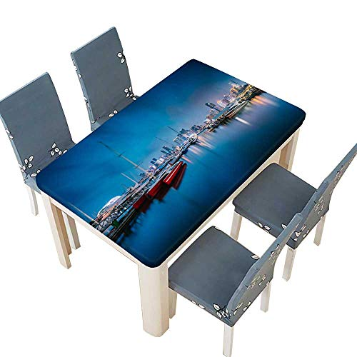 PINAFORE Table in Washable Polyeste Night Scene of Qingdao Seaside City Banquet Wedding Party Restaurant Tablecloth W29.5 x L69 INCH (Elastic Edge)