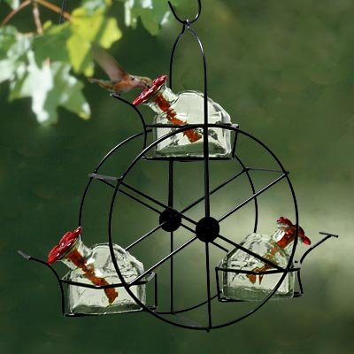 Parasol Ferris Wheel Hummingbird Feeder, Clear, 10.5 oz. - Exhart Bird Feeder