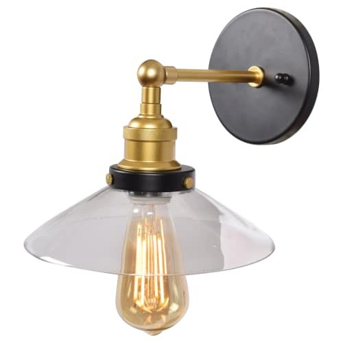Access Lighting 24000LEDDLP-BGL/CLR The District Wall Sconce, Black and Gold