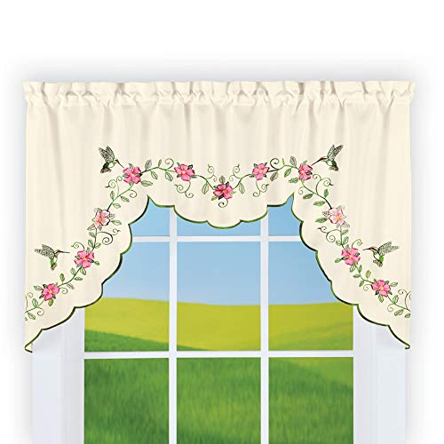 - Collections Etc Floral Hummingbird Garden Window Swag Valance with Scalloped Edges - Cute Home Decor Accessories