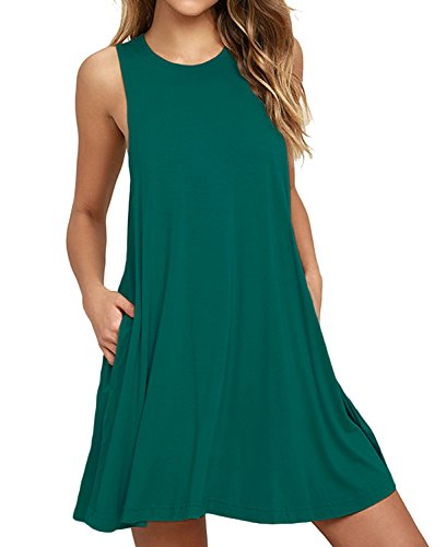 - Unbranded* Women's Summer Casual T Shirt Dresses Sleeveless Swing Dress with Pockets Dark Green XX-Large