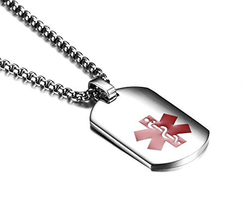 JF.JEWELRY Arc Surface Stainless Steel Medical ID Alert Necklace for Men & Women,Free Engraving 24 inches by JF.JEWELRY