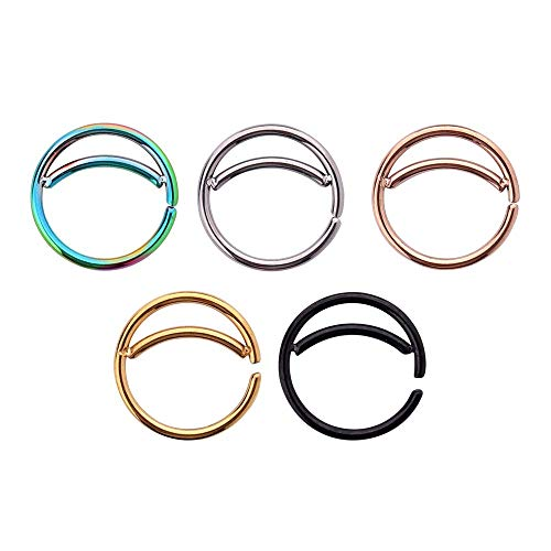 5pcs Stainless Steel Moon Nose Ring Hoop Indian Nose Ring Septum