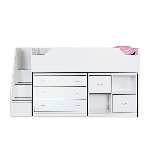 Loft Twin Unit (South Shore Mobby Loft Bed with Chest and Storage Unit, Twin, Pure White)